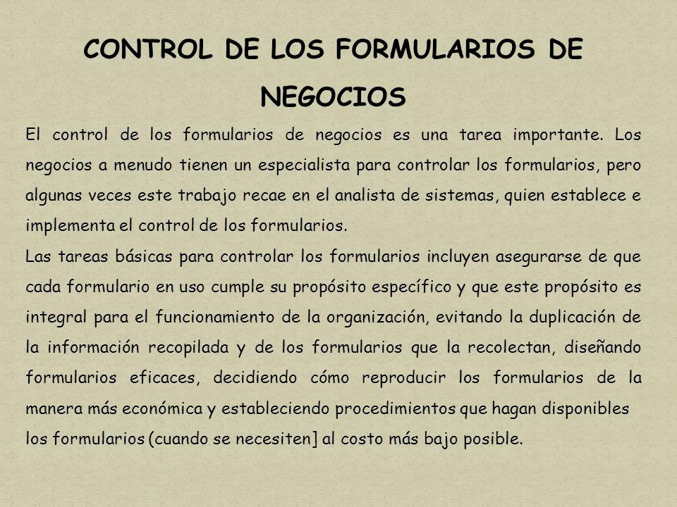CONTROL DE LOS FORMULARIOS DE NEGOCIOS