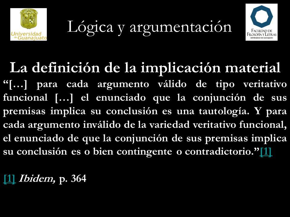 La definición de la implicación material