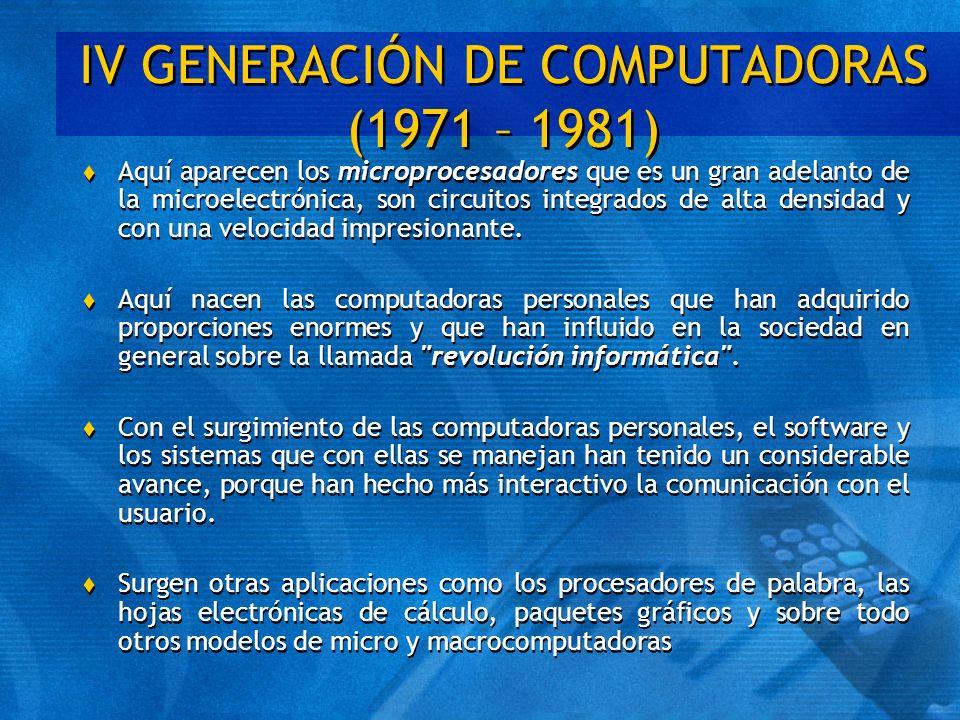 IV GENERACIÓN DE COMPUTADORAS (1971 – 1981)