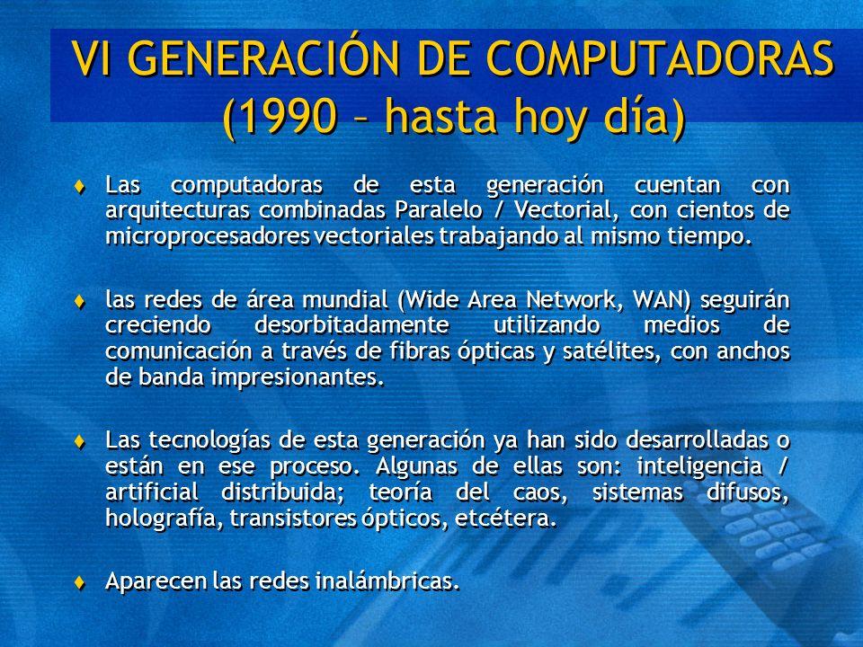 VI GENERACIÓN DE COMPUTADORAS (1990 – hasta hoy día)
