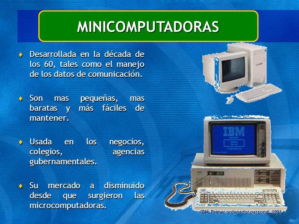 MINICOMPUTADORAS Desarrollada en la década de los 60, tales como el manejo de los datos de comunicación.