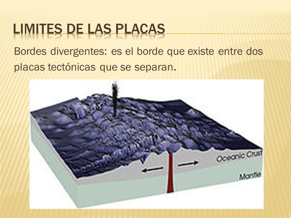 Limites de las placas Bordes divergentes: es el borde que existe entre dos placas tectónicas que se separan.