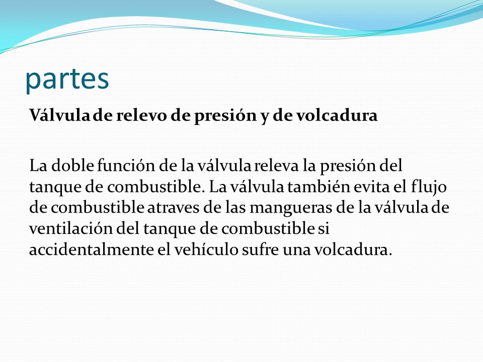 partes Válvula de relevo de presión y de volcadura