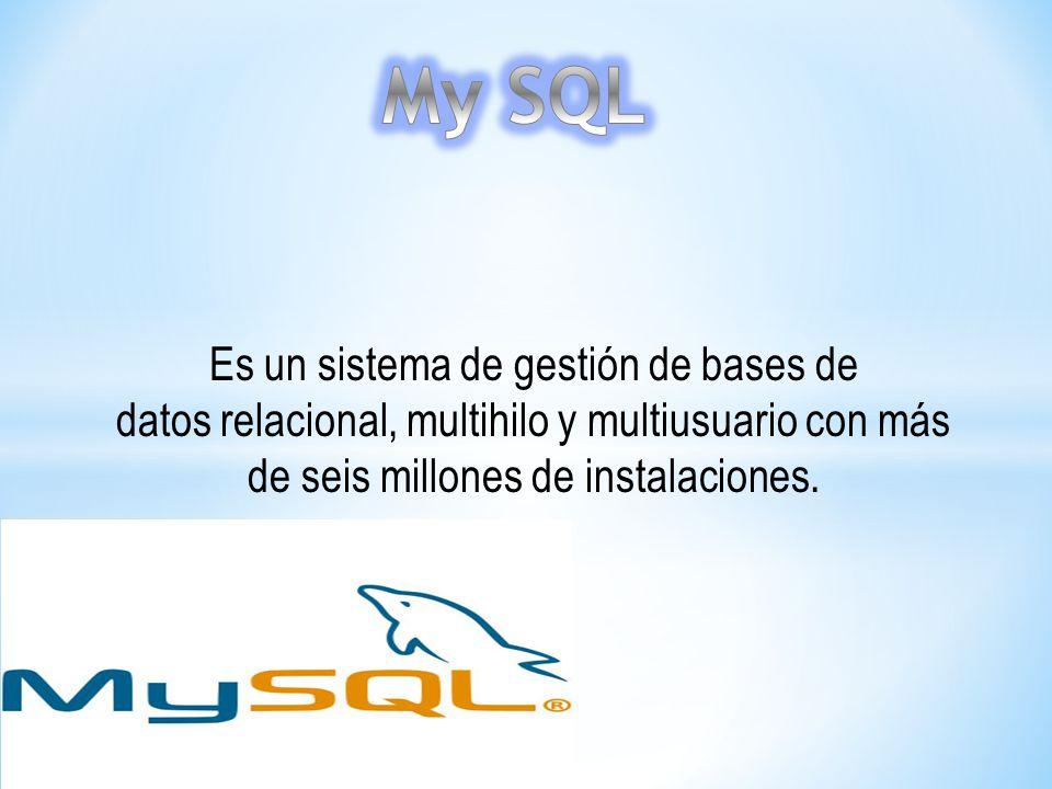 My SQL Es un sistema de gestión de bases de datos relacional, multihilo y multiusuario con más de seis millones de instalaciones.