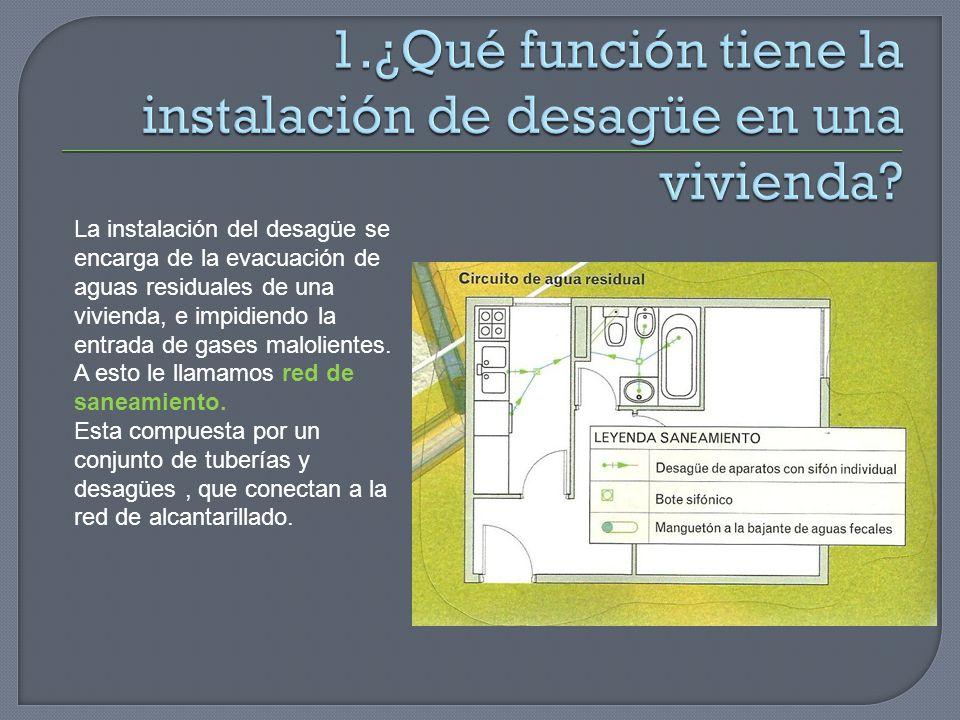 1.¿Qué función tiene la instalación de desagüe en una vivienda