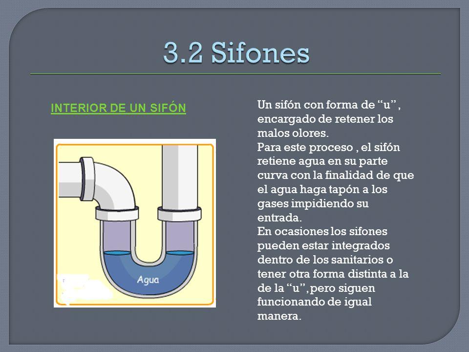 3.2 Sifones Un sifón con forma de u , encargado de retener los malos olores.