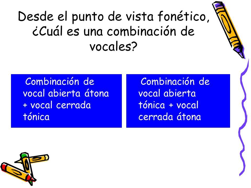 Desde el punto de vista fonético, ¿Cuál es una combinación de vocales