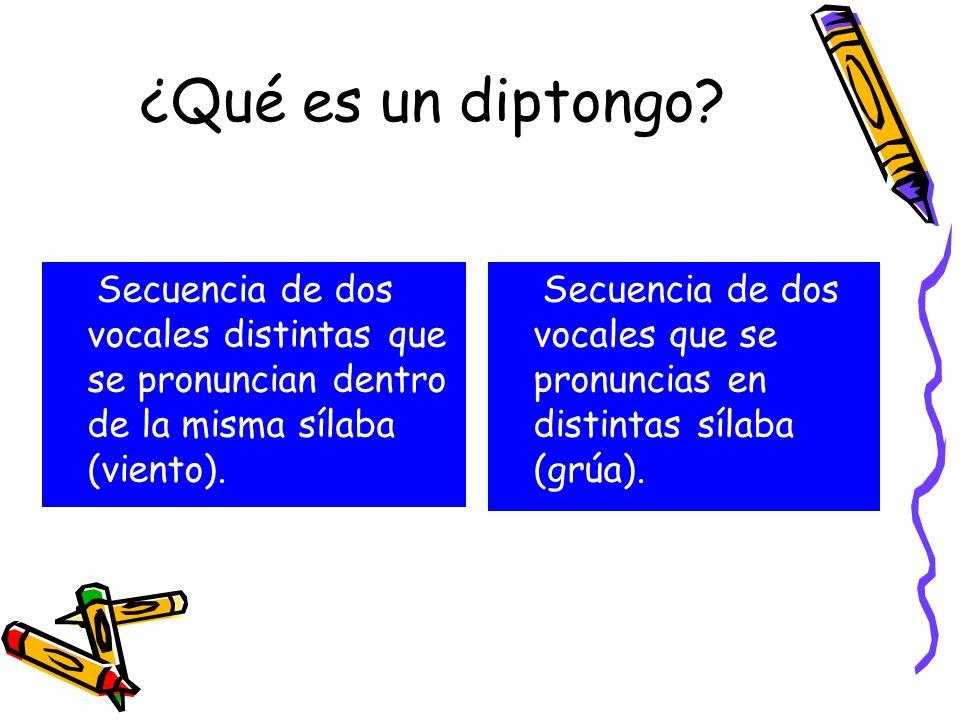 ¿Qué es un diptongo Secuencia de dos vocales distintas que se pronuncian dentro de la misma sílaba (viento).