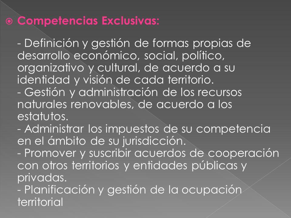 Competencias Exclusivas: - Definición y gestión de formas propias de desarrollo económico, social, político, organizativo y cultural, de acuerdo a su identidad y visión de cada territorio.