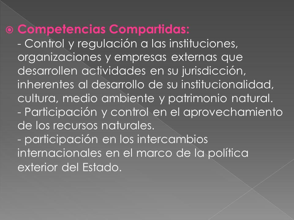 Competencias Compartidas: - Control y regulación a las instituciones, organizaciones y empresas externas que desarrollen actividades en su jurisdicción, inherentes al desarrollo de su institucionalidad, cultura, medio ambiente y patrimonio natural.