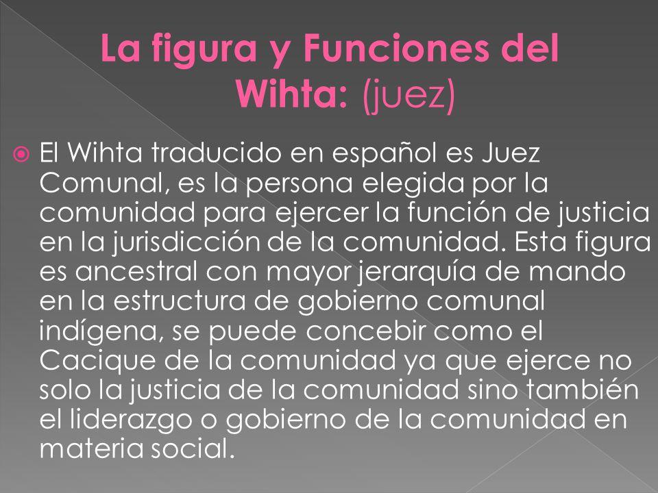 La figura y Funciones del Wihta: (juez)