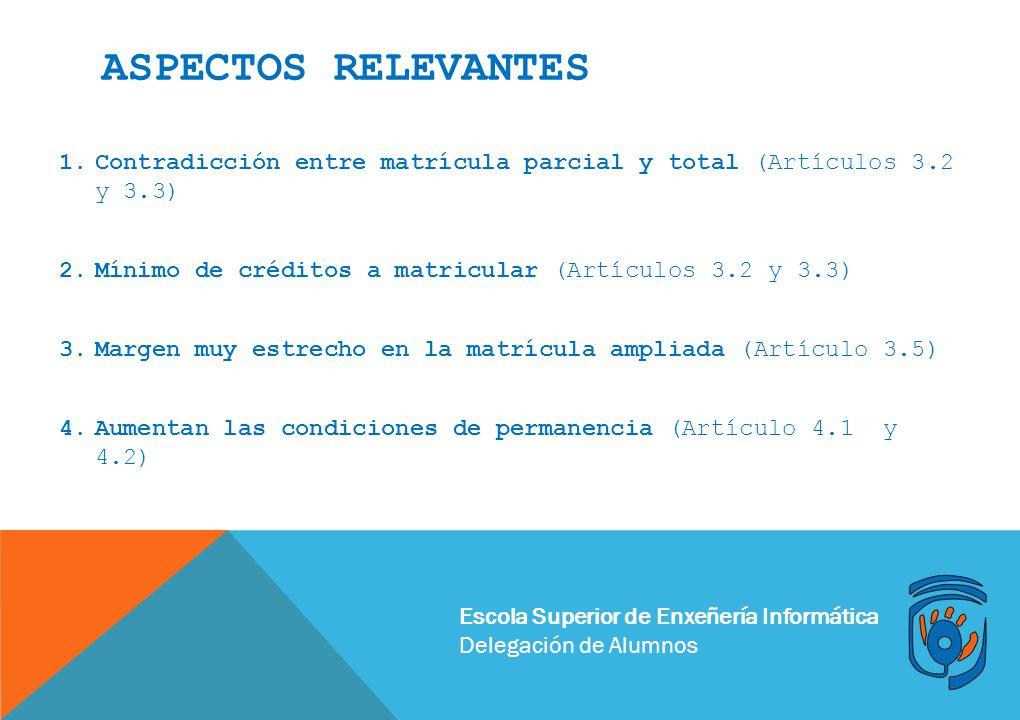 Aspectos relevantes Contradicción entre matrícula parcial y total (Artículos 3.2 y 3.3) Mínimo de créditos a matricular (Artículos 3.2 y 3.3)
