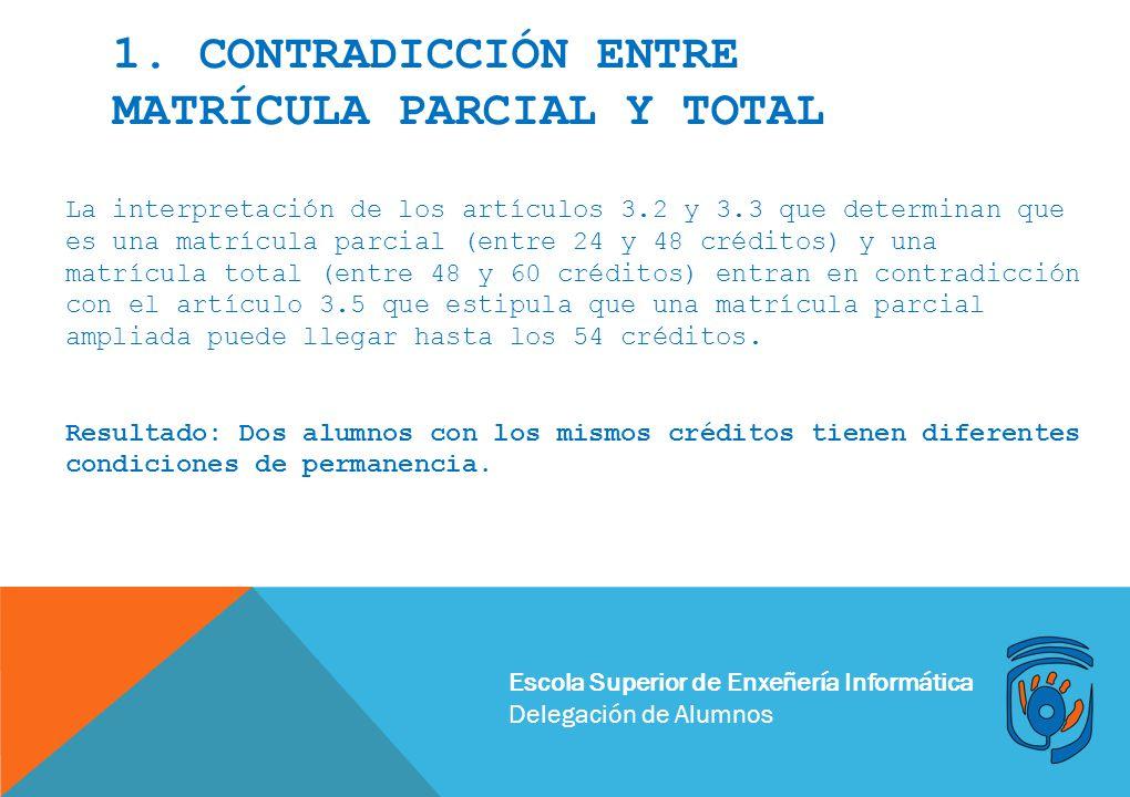 1. Contradicción entre matrícula parcial y total