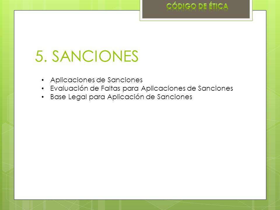 5. SANCIONES Código de ética Aplicaciones de Sanciones