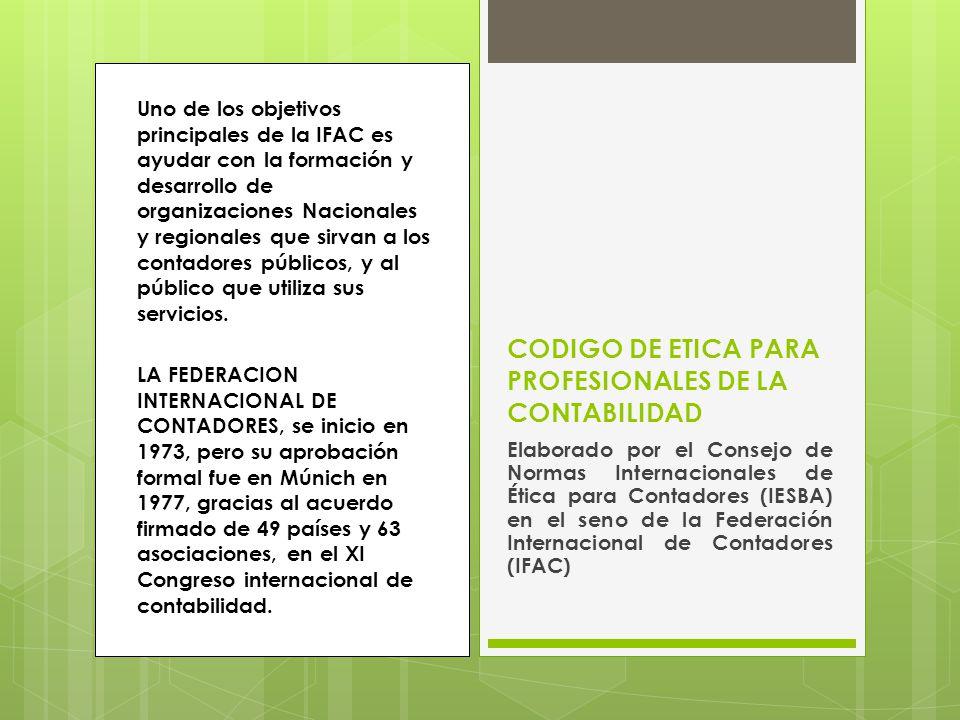 CODIGO DE ETICA PARA PROFESIONALES DE LA CONTABILIDAD