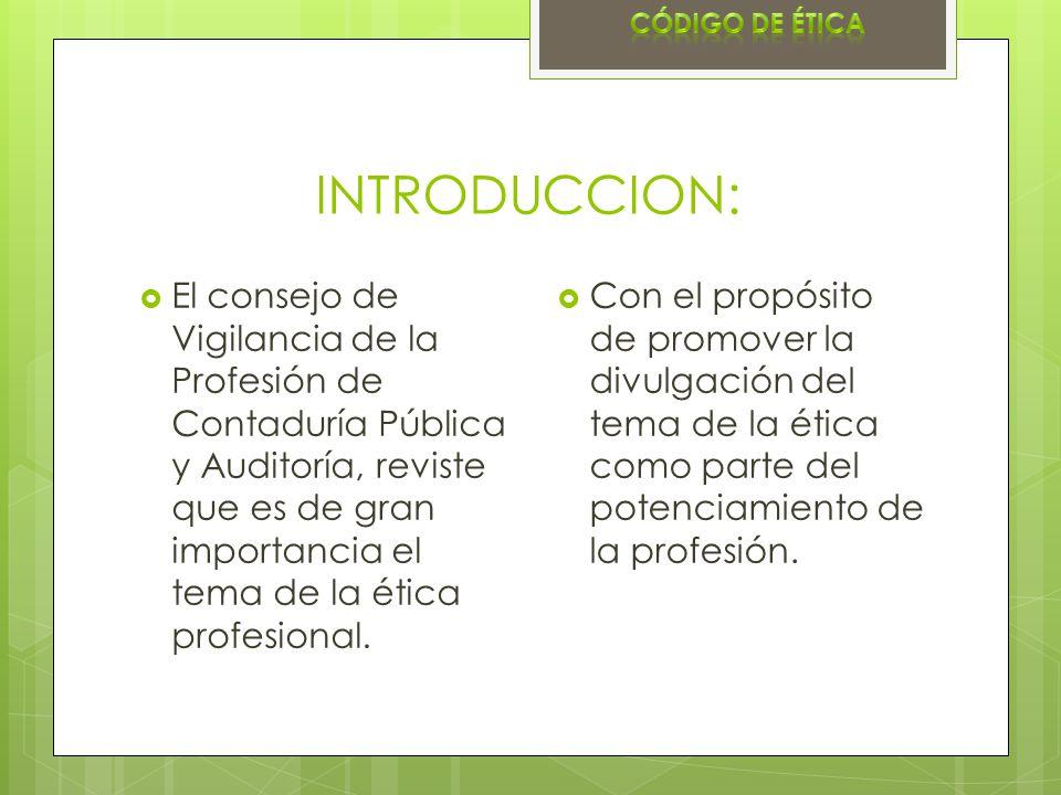 Código de ética INTRODUCCION: