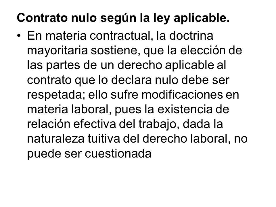 Contrato nulo según la ley aplicable.