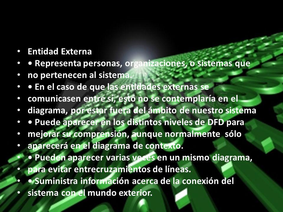 Entidad Externa • Representa personas, organizaciones, o sistemas que. no pertenecen al sistema. • En el caso de que las entidades externas se.
