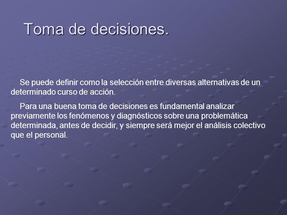 Toma de decisiones.Se puede definir como la selección entre diversas alternativas de un determinado curso de acción.