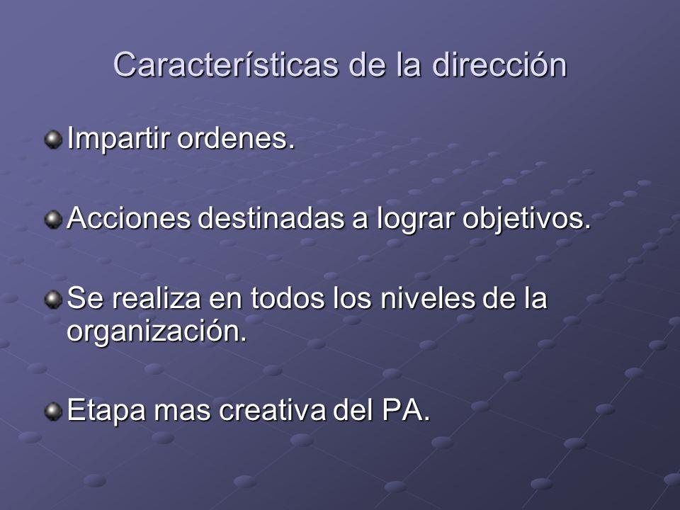 Características de la dirección