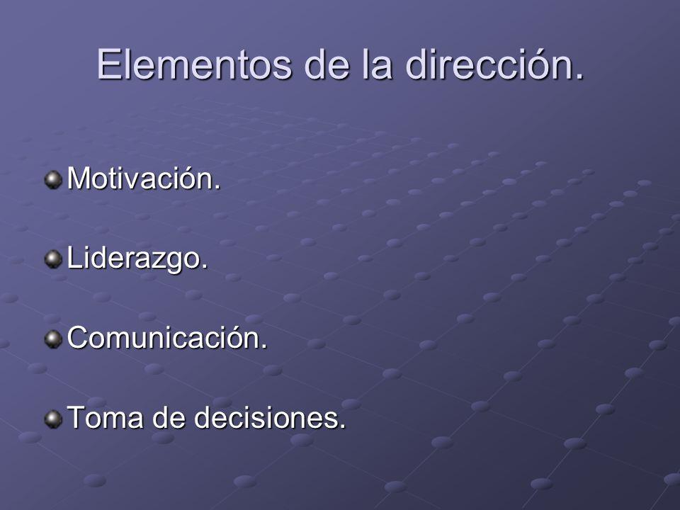 Elementos de la dirección.
