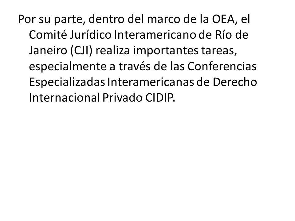 Por su parte, dentro del marco de la OEA, el Comité Jurídico Interamericano de Río de Janeiro (CJI) realiza importantes tareas, especialmente a través de las Conferencias Especializadas Interamericanas de Derecho Internacional Privado CIDIP.