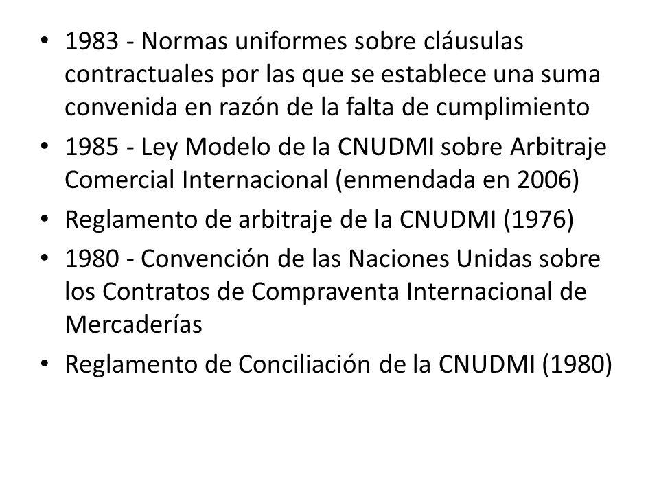 1983 - Normas uniformes sobre cláusulas contractuales por las que se establece una suma convenida en razón de la falta de cumplimiento