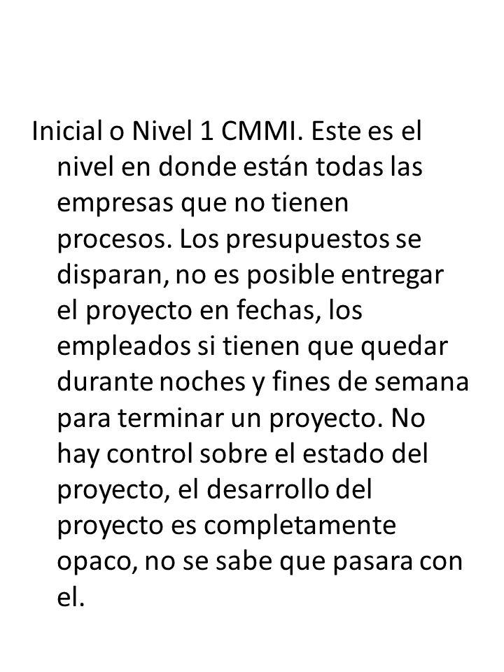 Inicial o Nivel 1 CMMI. Este es el nivel en donde están todas las empresas que no tienen procesos.