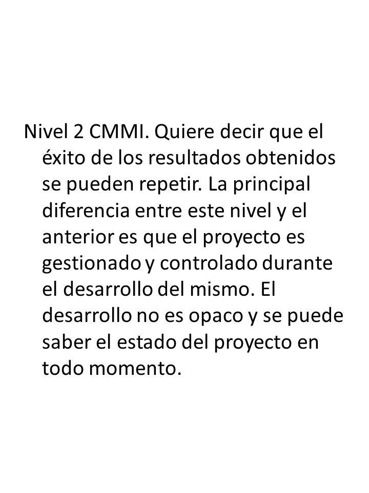 Nivel 2 CMMI. Quiere decir que el éxito de los resultados obtenidos se pueden repetir.