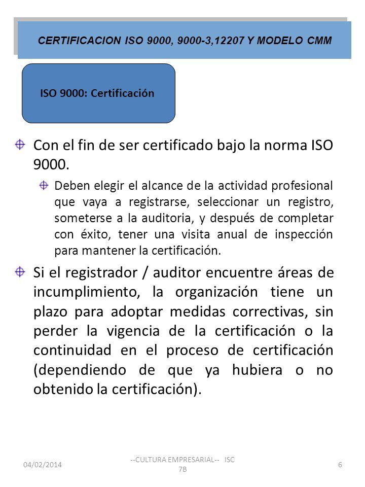CERTIFICACION ISO 9000, 9000-3,12207 Y MODELO CMM