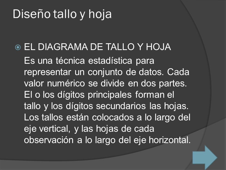 Diseño tallo y hoja EL DIAGRAMA DE TALLO Y HOJA