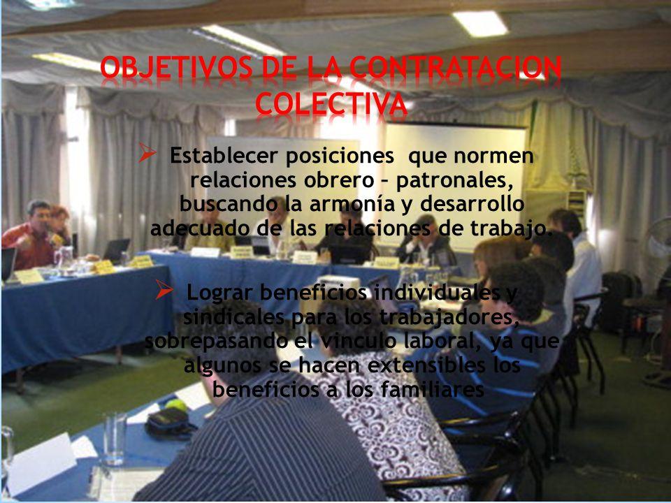 OBJETIVOS DE LA CONTRATACION COLECTIVA