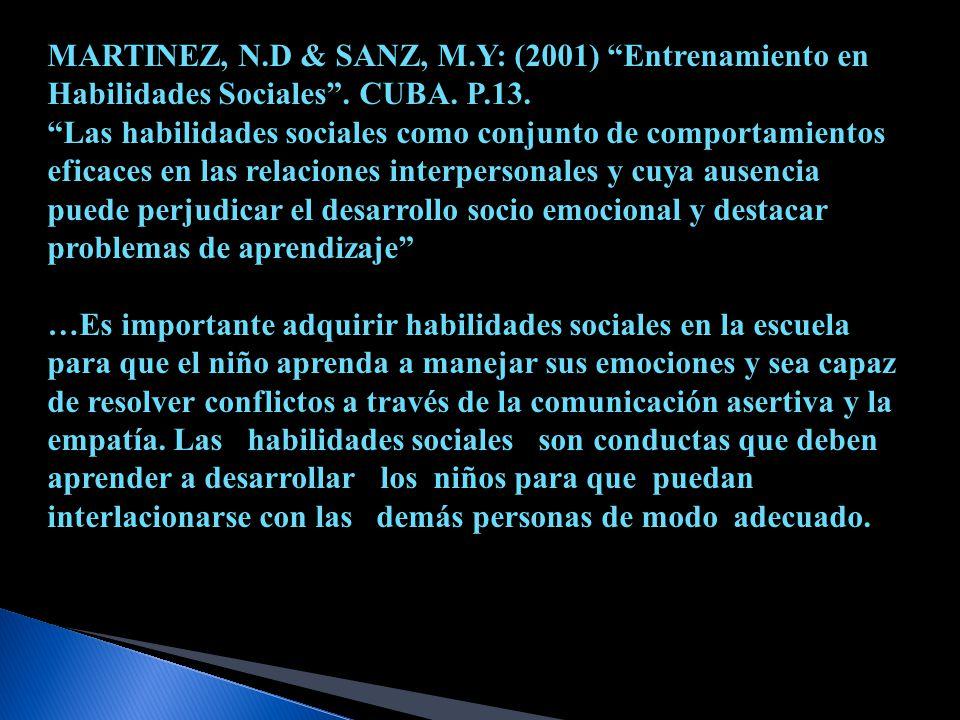 MARTINEZ, N.D & SANZ, M.Y: (2001) Entrenamiento en Habilidades Sociales . CUBA. P.13.