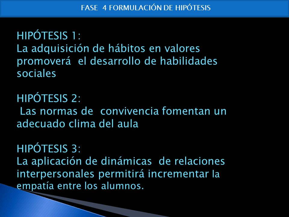 FASE 4 FORMULACIÓN DE HIPÓTESIS
