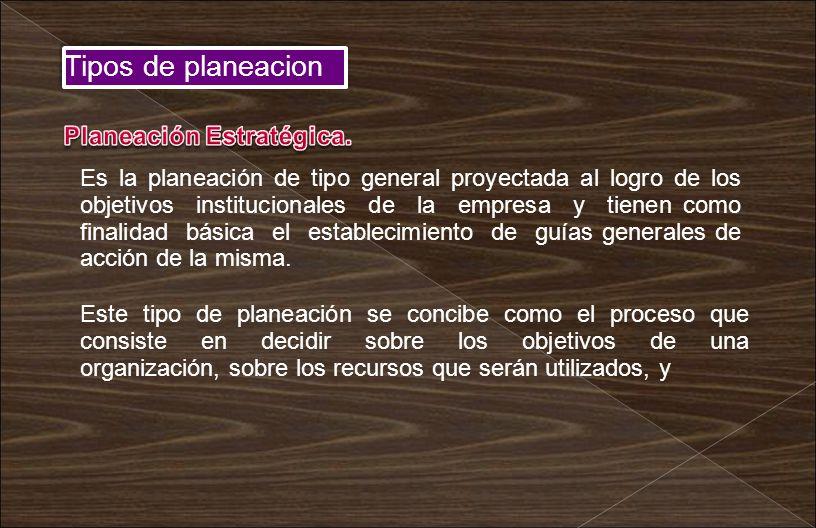 Tipos de planeacion Planeación Estratégica.