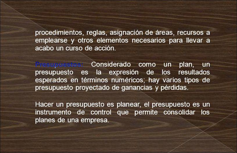 procedimientos, reglas, asignación de áreas, recursos a emplearse y otros elementos necesarios para llevar a acabo un curso de acción.