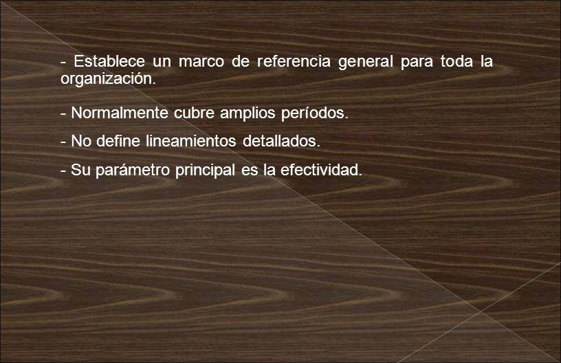 - Establece un marco de referencia general para toda la organización.
