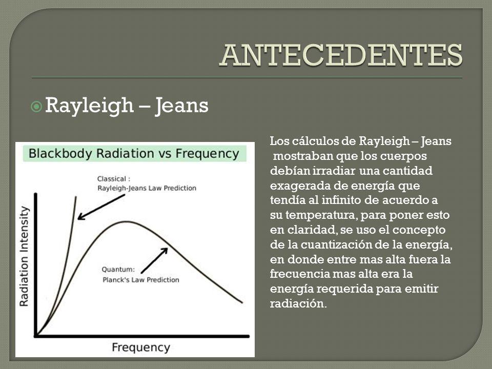 ANTECEDENTES Rayleigh – Jeans Los cálculos de Rayleigh – Jeans