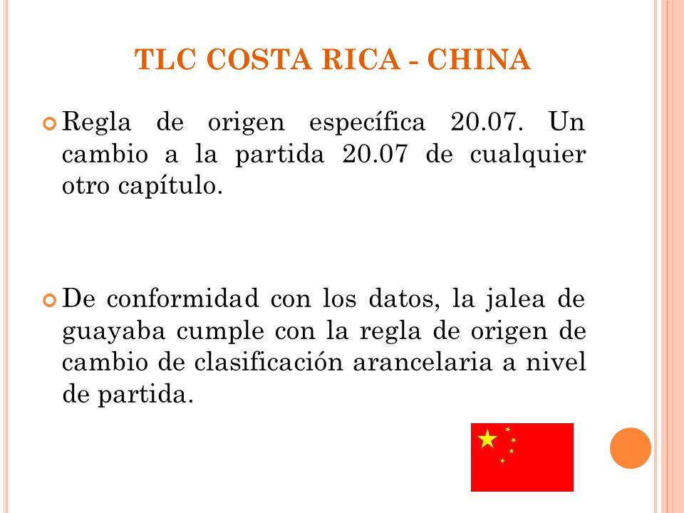 TLC COSTA RICA - CHINA Regla de origen específica 20.07. Un cambio a la partida 20.07 de cualquier otro capítulo.