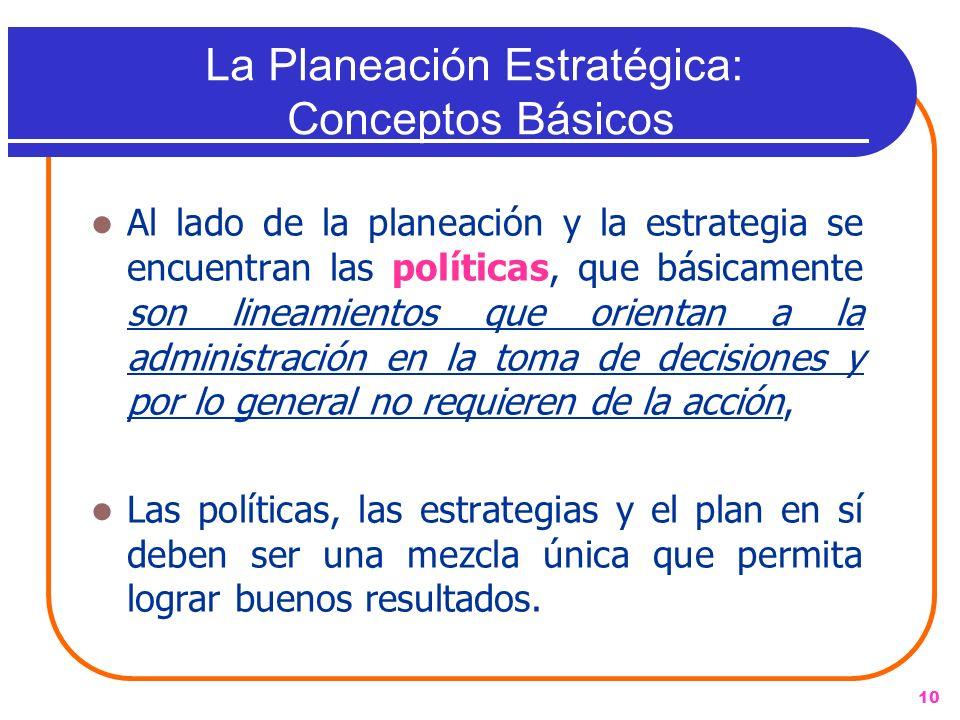 La Planeación Estratégica: Conceptos Básicos