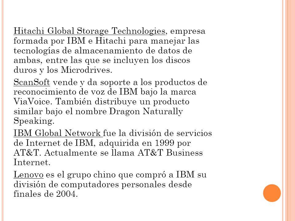 Hitachi Global Storage Technologies, empresa formada por IBM e Hitachi para manejar las tecnologías de almacenamiento de datos de ambas, entre las que se incluyen los discos duros y los Microdrives.