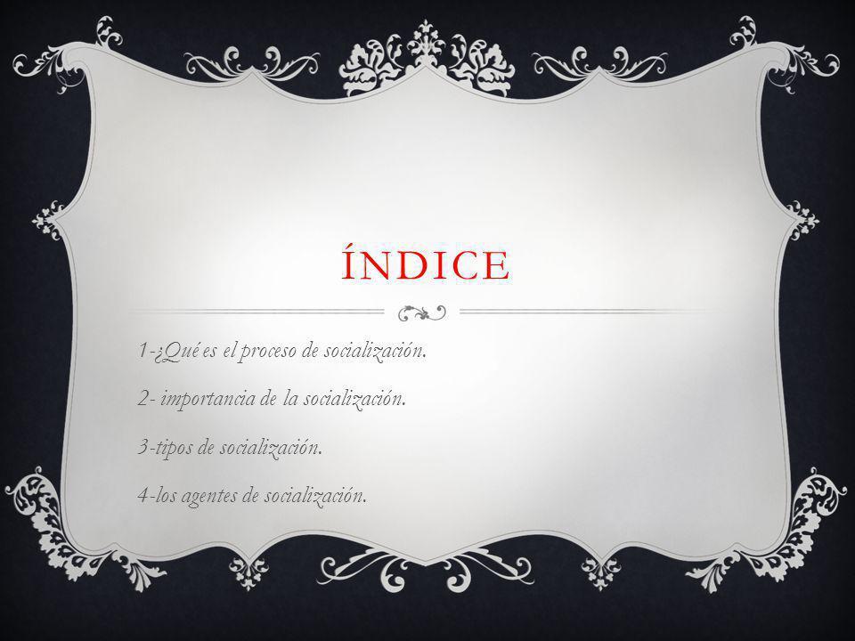 índice 1-¿Qué es el proceso de socialización.