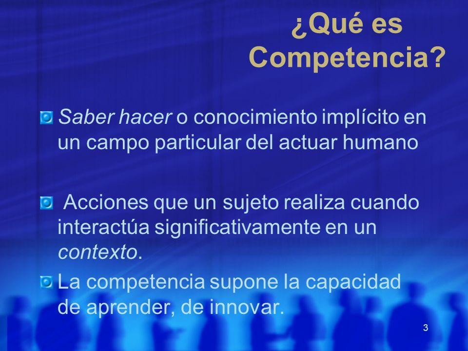 ¿Qué es Competencia Saber hacer o conocimiento implícito en un campo particular del actuar humano.