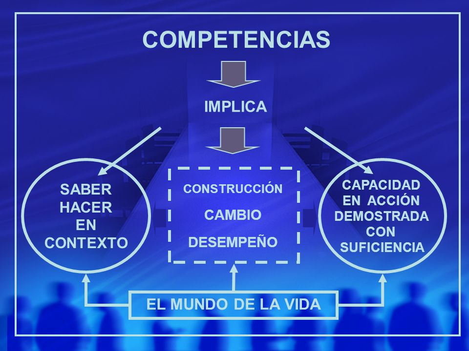 COMPETENCIAS IMPLICA EL MUNDO DE LA VIDA SABER HACER EN CONTEXTO