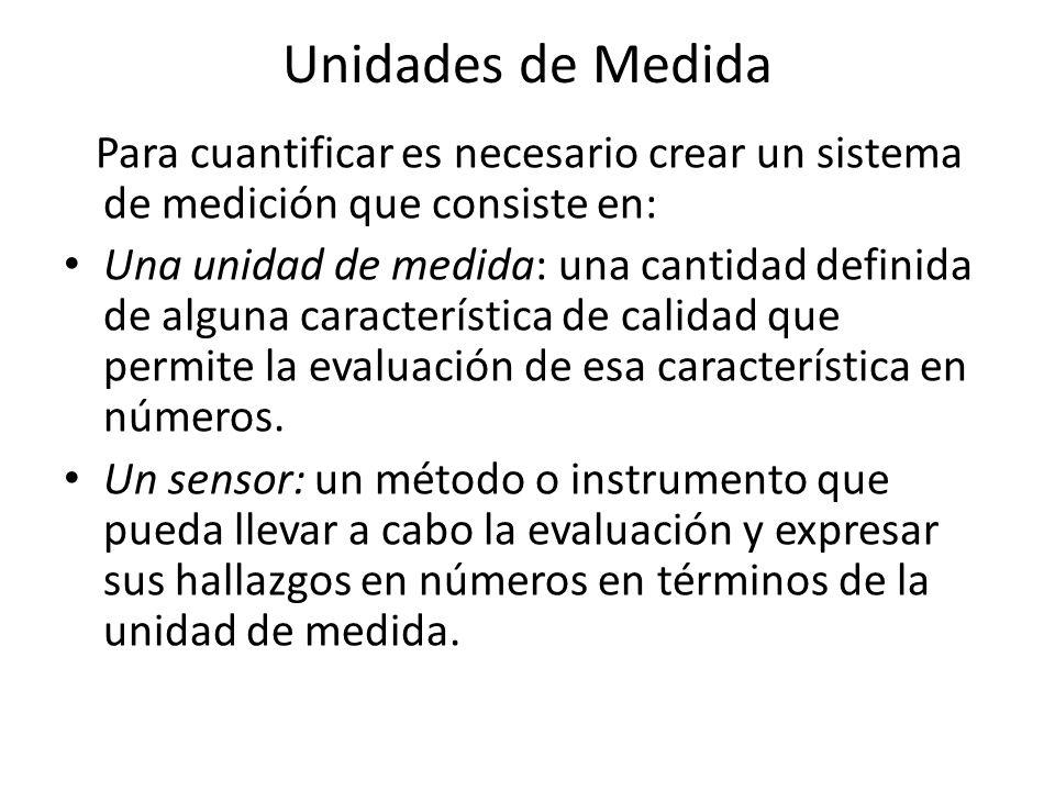 Unidades de Medida Para cuantificar es necesario crear un sistema de medición que consiste en: