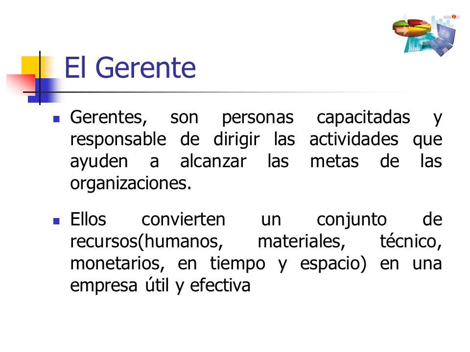 El Gerente Gerentes, son personas capacitadas y responsable de dirigir las actividades que ayuden a alcanzar las metas de las organizaciones.