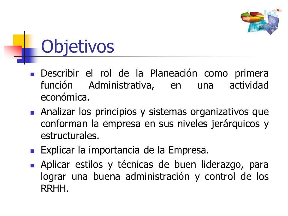 Objetivos Describir el rol de la Planeación como primera función Administrativa, en una actividad económica.