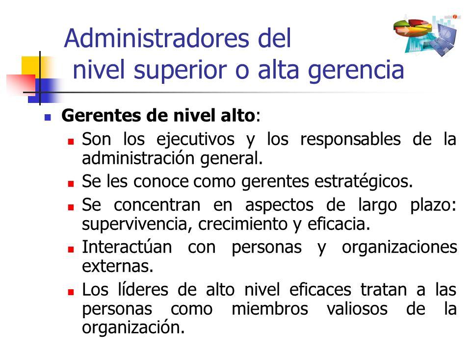 Administradores del nivel superior o alta gerencia