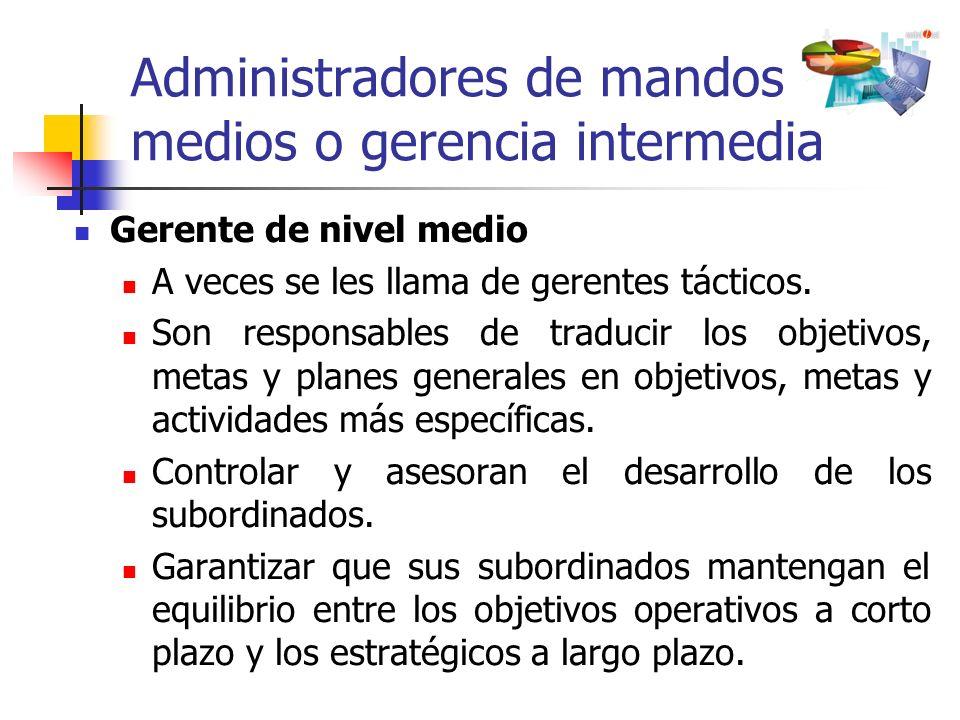 Administradores de mandos medios o gerencia intermedia