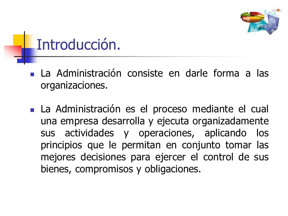 Introducción. La Administración consiste en darle forma a las organizaciones.